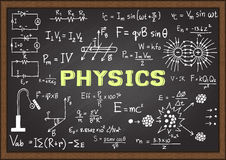 Hand drawn physics on chalkboard. Stock Image