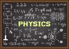 Hand drawn physics on chalkboard. Stock Image