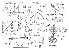 Hand drawn physics formulas Science knowledge education. Royalty Free Stock Photography