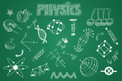 Hand drawn Physics set. Chalk on the blackboard Stock Photos