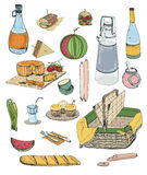 Hand drawn picnic items set. Collection with various food, drinks, basket illustration. Stock Photos