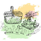 Hand drawn picnic place with big basket Royalty Free Stock Photography