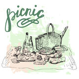 Hand drawn picnic place with big basket Royalty Free Stock Images