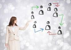 Hand-drawn pictogrammen van het mensenprofiel met open hand van onderneemster Stock Foto