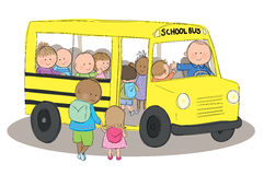 Children on School Bus. Hand drawn picture of children getting on a school bus. Illustrated in a loose style. Vector eps available vector illustration