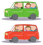 Family Car Trip. Hand drawn picture of family taking a trip in the car. Two mood scenarios. Illustrated in a loose style. Vector eps available Royalty Free Stock Images