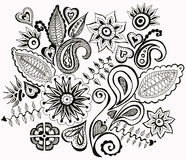 Hand drawn picture flowers. Black and white pen drawing on paper Royalty Free Illustration