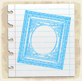 Hand drawn picture frames on paper note,  illustration Royalty Free Stock Photography