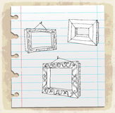 Hand drawn picture frames on paper note, vector illustration Royalty Free Stock Photos