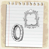 Hand drawn picture frames on paper note, vector illustration Royalty Free Stock Photo