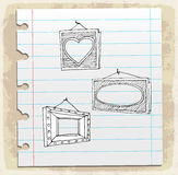 Hand drawn picture frames on paper note, vector illustration Royalty Free Stock Image
