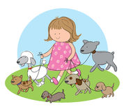 Dog Walking. Hand drawn picture of a girl walking dogs. Illustrated in a loose style. Vector eps available Royalty Free Stock Image