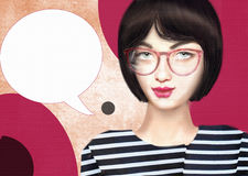Hand drawn picture of trendy hipster beauty girl wearing glasses Royalty Free Stock Photography