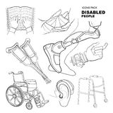 Hand drawn pictures for disabled people Stock Photos