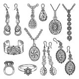 Hand drawn pictures set of luxury jewelry. Vector illustrations Royalty Free Stock Images