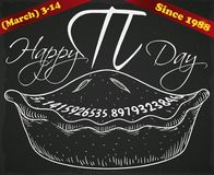 Hand Drawn Pie over Blackboard and Ribbons for Pi Day, Vector Illustration vector illustration