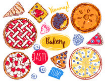 Hand Drawn Pie Slice Cake Icon Set Royalty Free Stock Images