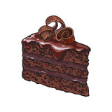 Hand drawn piece of layered chocolate cake with icing, shavings Stock Photo