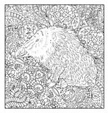 Hand drawn pig against floral pattern background Stock Photo