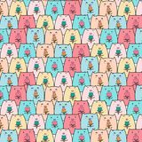 Hand drawn pig vector pattern. Doodle art. Royalty Free Stock Photography