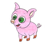 Hand Drawn Piglet. Drawing of a Cute Colorful Cartoon Piglet Royalty Free Stock Images