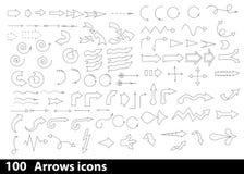 100 hand-drawn pijlenpictogrammen Stock Afbeelding