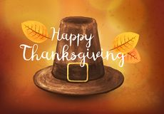 Hand-drawn Pilgrim hat. Illustration on a Thanksgiving holidays. royalty free illustration