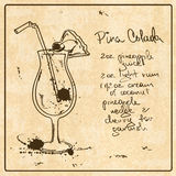 Hand drawn Pina Colada cocktail Stock Images