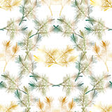 Hand drawn pine branch seamless pattern. Green and gold Royalty Free Stock Image