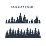 Hand drawn pine forest vector illustration. Hand drawn pine forest textured vector illustration Stock Photos