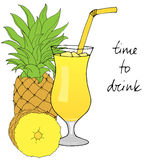 Hand drawn pineapple cocktail with ice, straw on white background. Hand drawn pineapple cocktail with ice and straw on white background. Vector illustration royalty free illustration