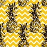 Hand drawn pineapple seamless pattern Stock Photography