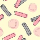Hand drawn pink bubble gum seamless pattern with burst. Sweet candy background. vector illustration