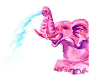 Hand drawn pink elephant Stock Photography