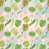 Hand drawn pink flamingo and monstera leaves. Seamless pattern vector illustration
