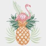 Flamingo on pineapple tropical print. Hand drawn pink flamingo on pineapple tropical print vector illustration