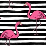 Hand drawn pink flamingo silhouette on a background of black and white stripes. design for holiday greeting card and invitation of. Seasonal summer holidays stock illustration