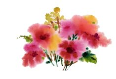 Hand drawn pink flowers isolated on white background.  Royalty Free Stock Photo