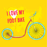 Hand drawn pink foot bike with blue wheels on Stock Photography