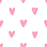 Hand drawn pink heart background. Stock Image