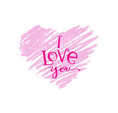Hand drawn pink heart with lettering stock illustration