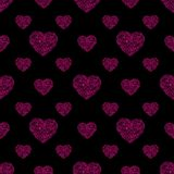 Hand drawn heart seamless pattern. Vector illustration. Hand drawn pink heart seamless pattern on black background for fabric, cloth, textile, print, material or stock photos
