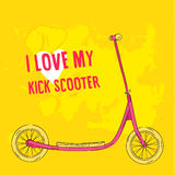Hand drawn pink kick scooter on bright green Stock Photography