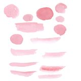 Hand drawn pink paint brushstroke watercolor Stock Photo