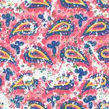 Hand drawn pink paisley vector seamless pattern Royalty Free Stock Images