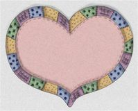Hand Drawn Pink Quilt Heart. A pink country heart quilt design illustration with a quilted border in green, gold, blue and purple embroidery designs Stock Photos