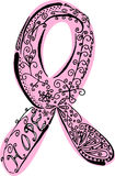 Hand-drawn pink ribbon Royalty Free Stock Photo