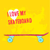 Hand drawn pink skateboard. Vector illustration Stock Image