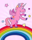 Hand drawn pink unicorn rainbow Stock Photography