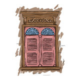 Hand drawn pink window. Vintage artistic architecture shutters Stock Photo
